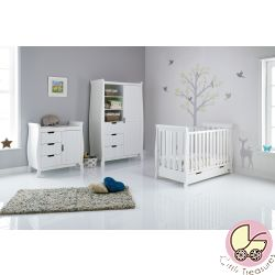 Obaby Stamford Mini Sleigh 3 Piece Room Set in White