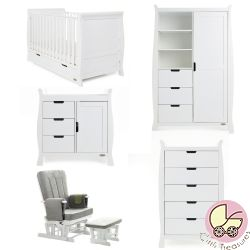 Obaby Stamford Classic 5 Piece Nursery Room Set in White