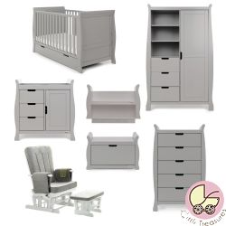 Obaby Stamford Classic 7 Piece Nursery Room Set in Warm Grey
