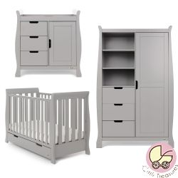 Obaby Stamford Mini 3 Piece Nursery Room Set in Warm Grey