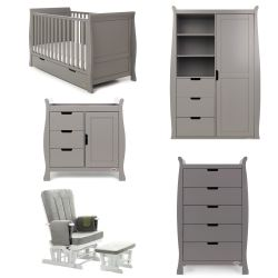 Obaby Stamford Classic 5 Piece Nursery Room Set in Taupe Grey