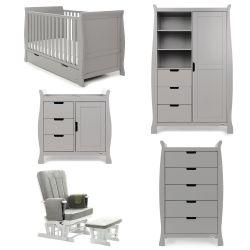Obaby Stamford Classic 5 Piece Nursery Room Set in Warm Grey