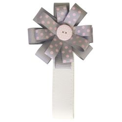BabyStyle Magnetic Ribbon in Grey & Pink Princess Polka