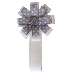 BabyStyle Magnetic Ribbon in Grey & White Polka