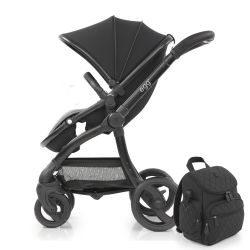 egg® Stroller in Just Black Special Edition, deluxe Reversible Seat Liner & matching Backpack style Changing Bag