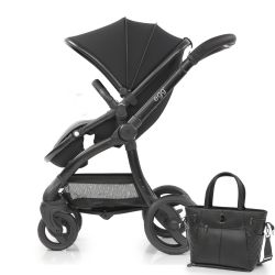 egg® Stroller in Just Black Special Edition, deluxe Reversible Seat Liner & stylish Changing Bag