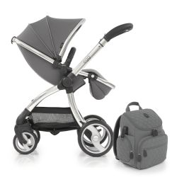 egg® Stroller in Anthracite Special Edition, deluxe Reversible Seat Liner & Matching Backpack Style Changing Bag