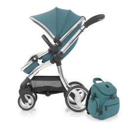 egg® Stroller in Cool Mist Special Edition, deluxe Reversible Seat Liner & Matching Backpack Style Changing Bag