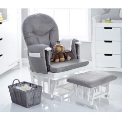 Obaby Stamford Reclining Glider Chair & Stool in White with Grey Cushions