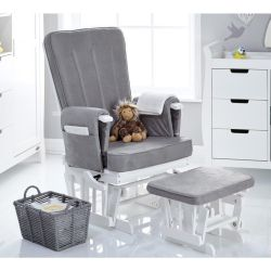 Obaby Stamford Deluxe Reclining Glider Chair & Stool in White with Grey Cushions