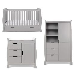Obaby Stamford Classic 3 Piece Nursery Room Set in Warm Grey